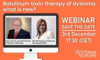 "3 December 2020 | Dystonia Europe webinar ""Botulinum toxin therapy of dystonia: what is new?"""